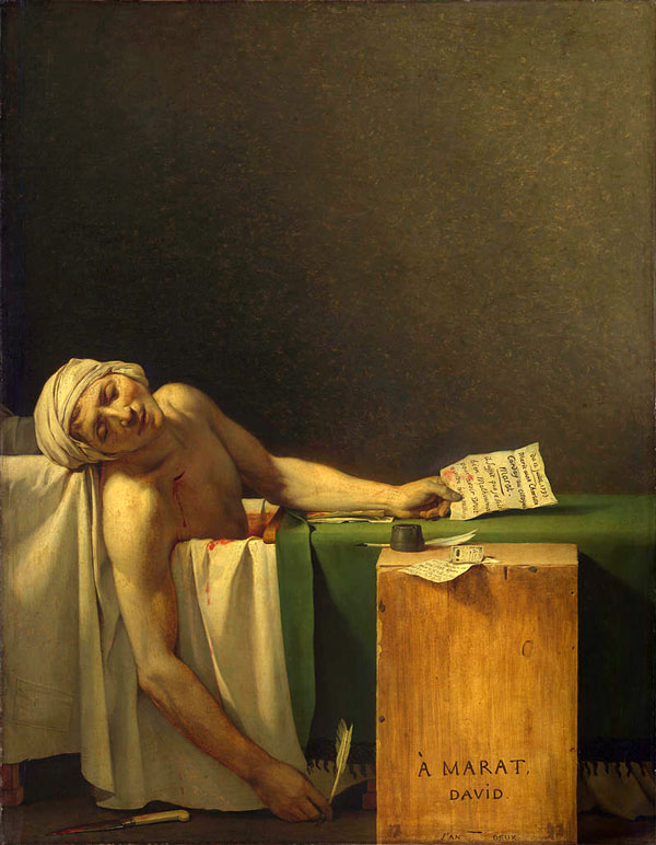La morte di Marat, Jacques-Louis David, 1793